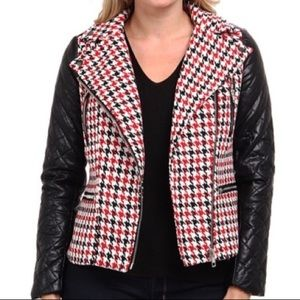Kut from the Kloth Houndstooth Moto Jacket
